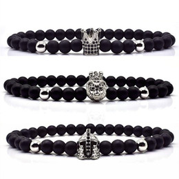 $enCountryForm.capitalKeyWord Australia - 3pcs Set Crown Lion Bracelet Men Women 6MM Stone Matte Beads Charm Fashion Bracelet For Men Women Classic Jewelry Gift