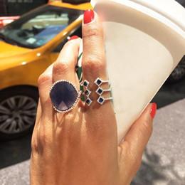 $enCountryForm.capitalKeyWord Australia - Open Adjust Free Size Women Finger Rings Silver Color Blue Green Red Geometric Long Ring J190716