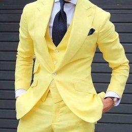 Men White Linen Casual Suits Australia - Yellow Linen Groom Wear Wedding Tuxedos Man Suits Blazer 3Piece Wide Peaked Lapel Male Jacket Trousers Vest Casual Menswear Prom Party