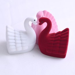 $enCountryForm.capitalKeyWord Australia - Small swan velvet jewelry box fashional style creative ring ear nail box Storage Box Valentine's Day Gift hot sale 10 pcs