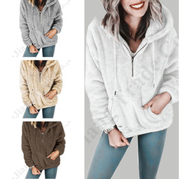 $enCountryForm.capitalKeyWord Australia - S-5XL Women Sherpa Pullover Tosp Camofleece Hooded Sweatshirts Full Sleeve Zip Collar Warm Winter Sweater Coat with Pockets Clothes C91107