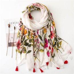 tassel scarf ladies cotton Australia - 2019 New Design Flower Scarf Voile Cotton Wrap With Tassels Plant Flowers Printed Large Stoles Lady Hijab Shawl