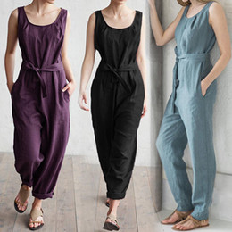 $enCountryForm.capitalKeyWord Australia - Celmia Plus Size Women Jumpsuit 2019 Summer Sleeveless Rompers Elegant Self Belted High Waist Cotton Linen Casual Overalls Pants Y19051501