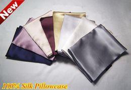 $enCountryForm.capitalKeyWord NZ - Wholesale- Black Satin Pillow Cases Cover Bedding Double Face Charmeuse 100% Natural Pure Silk Pillowcase King Sleep White Pink 48X74cm