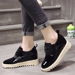 High Wedge Platform Shoes Leather NZ - Designer Dress Shoes Spring Autumn Woman Platform Patent Leather Lace Up Women Oxford Shoe Increasing High Wedges Casual 6881
