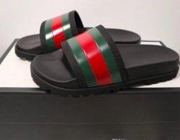 Micro Gears Australia - Designer Rubber slide sandal Floral brocade men slipper Gear bottoms Flip Flops women striped Beach causal slipper with Box Free shipping