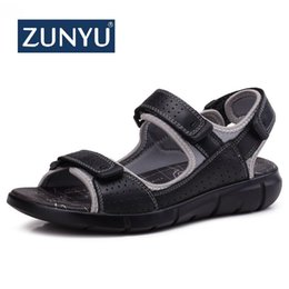 new design casual sandals Australia - ZUNYU New Summer Men Genuine Leather Sandals Business Casual Shoes High Quality Design Outdoor Beach Sandals Man Water Sneakers