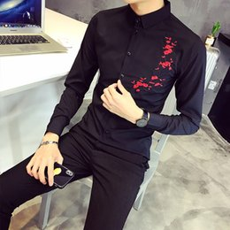Male Flower Clothes Australia - 2019 Brand Men Casual Long Sleeved Embroidery Flower Shirts Men Clothing Slim Fit Male Social Dress Shirt Camisas Para Hombre