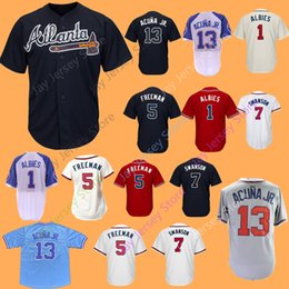 Woman jersey yelloW online shopping - Custom Atlanta Braves Jersey Albies Freeman Swanson Inciarte Ronald Acuna Jr Newcomb Brian McCann Camargo Donaldson Men Women Youth Kid