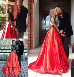 $enCountryForm.capitalKeyWord Australia - 2019 Sexy Couple Fashion Black and Red Prom Dress Cheap Lace Formal Summer Holidays Wear Graduation Evening Party Gown Custom Made Plus Size