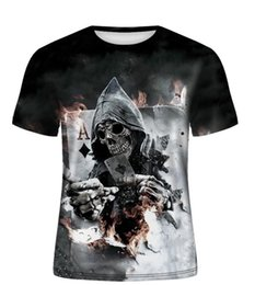 designed blinds NZ - Summer new 3d Men short sleeve t-shirt men Skull Burning Print BLINDING Newest Design Casual Style Cool Men's 3d tee fz2567