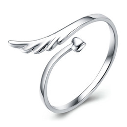 Angel wings heArt ring online shopping - hot sale plating Sterling Silver heart Angel wings Opening ring charms High quality Man woman ring Fashion jewelry