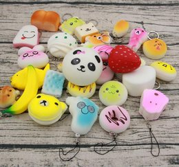 Cute Cell phone straps online shopping - Small Cute Bread Cell Phone Decoration Random Squishy Soft Panda Bread Cake Buns Phone Straps Pendant