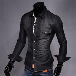 Denim shirt men spring online shopping - Men s Denim Shirt Brand Spring Pocket Fit Slim Shirt for Male Long Sleeve Tops Blouse Men Autumn Casual Y