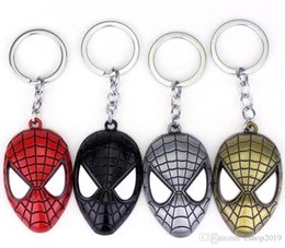 amazing keychains UK - Free Shipping Marvel Super Hero Spider-man The Amazing Spiderman Keychain Metal Key Chain Keyring Key Rings