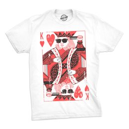 print poker cards 2019 - Mens King Of Hearts Tshirt Cool Playing Cards Poker BlackjackTee For Guys Funny 100% Cotton T Shirt RETRO VINTAGE Classi