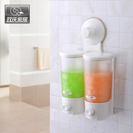 Hotel Hand soap online shopping - Shuangqing Suction Cup Or Use Screw Wall Mounted Double Hand Liquid Soap Dispenser Holder Shower For Bathroom Hotel