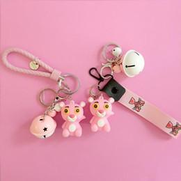 $enCountryForm.capitalKeyWord Australia - Pink panther shield key chain bell couple Keychain Car Key Holder Acrylic Bell Anime Key Chain Bag Pendant Bts Accessories Girl Gift