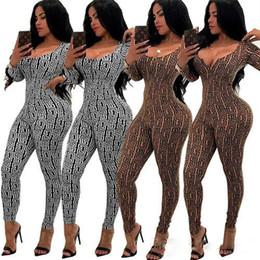 ac383c7d70c Women brand designer Jumpsuit plaid long sleeve Rompers zipper Capris Sexy Overalls  Bodysuit ladies fall clothes deep v-neck skinny jumpsuit