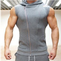$enCountryForm.capitalKeyWord Australia - 2018 Singlets Mens Fitness Tank Tops Male Vest Zipper Sleeveless Hooded Bodybuilding Gyms Clothing Waistcoat Shirt #314346