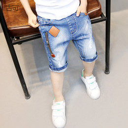 Baby Clothes Ripped Jeans Australia - He Hello Enjoy Boys Denim Pants Kids Jeans Summer Zipper Ripped Hole Jeans Shorts Baby Boys Trousers Children Clothes 4-12y Y19051504