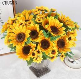 Office Bathroom Decor NZ - Autumn Decoration 13 Heads Yellow Sunflower Silk Artificial Flowers Bouquet For Home Decoration Office Party Garden Decor