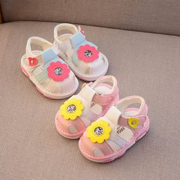 Baby Girl Cute Sandals Australia - Baby shoes baby girl shoes floral toddler Pink Girls Sandals Infant Beach sandal Toddler Sandals infant baby girl designer shoe cute