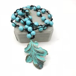 necklaces pendants Australia - Free Shipping Leaf Alloy Pendant Charm Turquoise Stones Fashion Necklace, Holiday Pretty Punk Styles Necklace For Women
