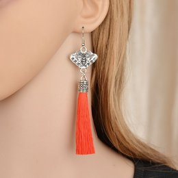 Wholesale y Vintage Good Quality Bohemian Silver Butterfly Long Section Tassel Earrings Statement Jewelry For Women E1595
