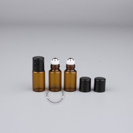 Glass Perfume Bottle High Quality NZ - High Quality 3ml 3cc Glass Roll-on Bottle With Black Lid, Amber Mini Essential Oil Bottles, Perfume Sample Packaging 50pcs lot