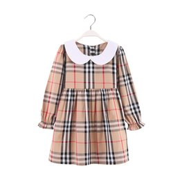 Product Brand Color Australia - 2019new Girls with long sleeves Princess dress Pure cotton design spring and autumn fashion hot-sale products Children's dress Lapel plaid f