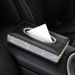 $enCountryForm.capitalKeyWord Australia - Bling Crystal car tissue Box Luxury PU Leather Auto Paper Box Holder Cover Case Tray for Home Office Automotive