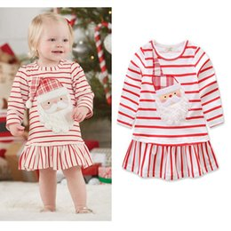 red striped christmas dress Australia - Baby Girls Christmas Dress Lovely Cartoon Striped Christmas Father Red Long Sleeve Dress Designer Princess Dresses Clothes HHAA610