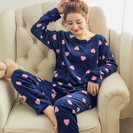 $enCountryForm.capitalKeyWord Australia - korean winter Women Pyjamas Thicken Flannel Pajama Sets Print Thick Warm Love Pijama mujer Girl Nightgown Long Pant Sleepwear SH190905