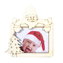 wholesale wooden picture frames Australia - Christmas Wooden Photo Frame Baby Kids Picture Holder Desktop Ornament Festive Party Supplies