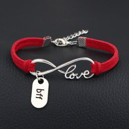 $enCountryForm.capitalKeyWord NZ - Vintage Red Leather Suede Bracelets Infinity Love Bff Sign Pendant Charm Single Strands Wrap Bangles Boho Jewelry For Women Men Dropshipping