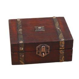 $enCountryForm.capitalKeyWord UK - Stylish Vintage Metal Lock Decorative Trinket Jewelry Storage Box Handmade Classical Wooden Treasure Case storage box