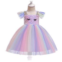 Purple Costume UK - 2019 New Summer Kids cartoon Rainbow Dresses For Girls Backless Fluffy Cake Smash Dress Elegant Princess Party Dress Girl Birthday Costume