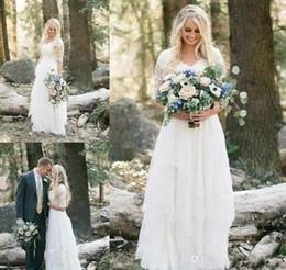 Cheap Lace Shirts Australia - 2019 Cheap Western Country Bohemian Forest Wedding Dresses Lace Chiffon V Neck Boho Garden Bridal Gown Custom Made Plus Size