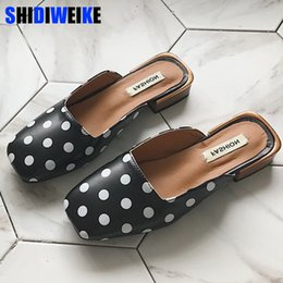 $enCountryForm.capitalKeyWord Australia - Shoes Woman slides mules polka dot zapatos mujer 2019 summer fashion Square toe Slippers shallow Slippers loafers black
