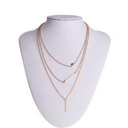 Simple model necklace online shopping - Explosion models Europe and the United States foreign trade jewelry Beautiful fashion simple pearl sticks multi layer suit necklace