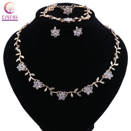 $enCountryForm.capitalKeyWord UK - CYNTHIA Elegant Gold Color Flower Crystal Necklace Earrings Bridal Jewelry Sets for Women Prom Wedding Jewelry Christmas