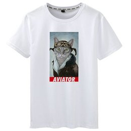 $enCountryForm.capitalKeyWord Australia - Aviator t shirt Cat pilot short sleeve tees Cool flyer gown tops Fadeless print clothing Pure color colorfast modal tshirt
