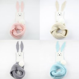 Free DHL Winter Scarf For Kids Cute Cartoon Rabbit Ear Long Girls Boys Scarves Knitted Neck Warmer Children Scarves Accessories M277Y