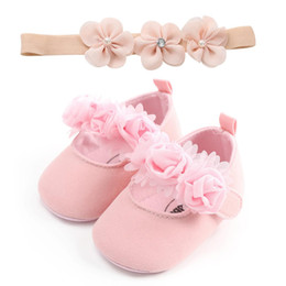 Wholesale cotton fabric black white flowers resale online - Newborn Infant Baby Sneaker Girls Boys Lace Flower Hook Soft Sole Prewalker Warm Crib Shoes Pink Black White Red
