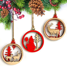 gift craft christmas Australia - 3PC Creative Christmas Wooden Pendants Ornaments DIY Wood Crafts Xmas Tree Ornaments Christmas Party Decorations Kids Gift