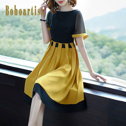 $enCountryForm.capitalKeyWord Australia - Bohoartist Summer Women Dress Color Block Short Sleeve Patchwork O Neck Yellow Dress A Line 2019 Elegant Casual Dresses For Girl T5190613