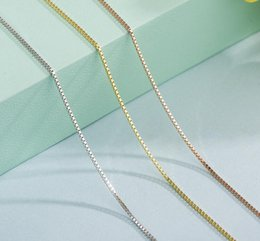 sterling silver box chain wholesale Australia - 925 Sterling Silver Box Chain Necklace Jewelry for Women Silver Gold Smooth Box 65mm 8mm Clavicular Necklaces Chains Gift