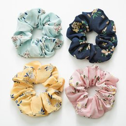 girls flower hair rings 2019 - 4 Color Women Girls Chiffon Floral Cloth Elastic Ring Hair Ties Accessories Ponytail Holder Hairbands Rubber Band Scrunc