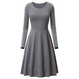l swing 2019 - Woman O-Neck Long Sleeve Solid Dress Women's Clothing Women Casual Swing Party Dresses Female Casual Elegant Dress